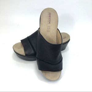 Geox Shoes - Geox Slip On Black Leather Platform Sandals Sz.6
